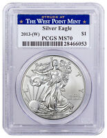 2013 (W) 1 oz American Silver Eagle Struck at West Point Mint PCGS MS70 SKU56376