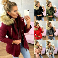 Women's Winter Warm Hooded Coat Outwear Fur Collar Jacket Parka Overcoat Peacoat