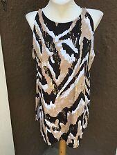 New Chico's Zenergy Naomi Tribal Print Embellished Tank Top Shirt 3 XL 16 18 NWT