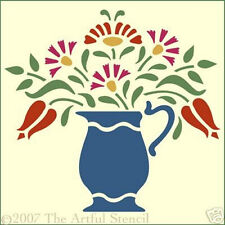 FLOWER PITCHER STENCIL -  FOLK ART - The Artful Stencil