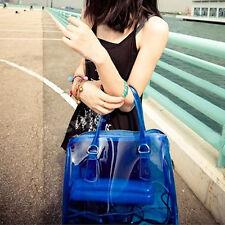 Fashion Women's 2 in 1 Clear Transparent Beach Handbag PVC Jelly Shoulder Bags