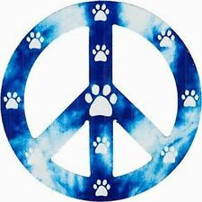 Blue Peace Sign Paw Print Magnet