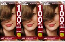 3 GARNIER HAIR COLOR #601 LIGHT BROWN 100% GRAY COVERAGE FREE SHIPPING USA RARE