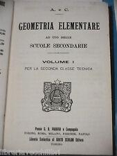GEOMETRIA ELEMENTARE Vol I Paravia 1928 Libro Scuola di Matematica Manuale Corso