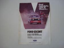 advertising Pubblicità 1980 FORD ESCORT RALLY GR 1 e PRESOTTO/SGHEDONI
