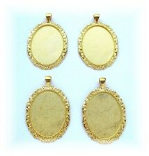 4 BRIGHT Goldtone NEOCLASSICAL 40mm x 30mm CAMEO Costume PENDANTS Frame Setting