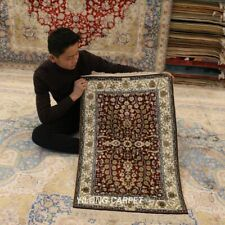 Yilong 2'x3' Red Hand Knotted Carpets Flowers handmade Silk Home Decor Rug 121A
