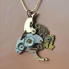 Kette *steampunk Halskette *fish Uhrwerk-Teile Zahnrad Fisch Auge phosphoreszier
