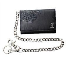 Harley-Davidson® Men's Bar & Shield Tri-Fold Black Leather Chain Wallet CR2314L