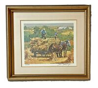Autum hey field horses farm by Peter Etril Snyder signed 811/950 framed 8 x 9