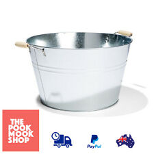Galvanised Metal Bucket 20L Water Iron Basin Laundry Bamboo Grip Handle (Silver)