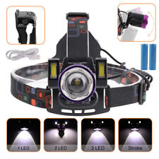 T6 +2* COB LED 80000LM Headlamp Rechargeable Zoomable  Focus Hunting Torch 18650