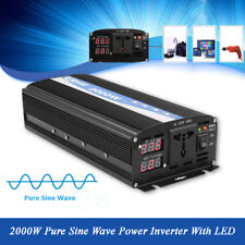 2000W Dual Display Car Power Inverter Pure Sine Wave 12V DC to 220V AC Converter
