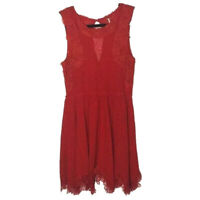 Free People Size Small Red Sleeveless Dress Lace Crochet Fit & Flare Keyhole