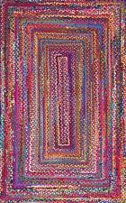 Rectangle Braided Rug Mat Handmade Reversible Cotton Floor 2x12 Feet