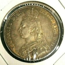 🔥 1890 🔥 Great Britain One FULL Crown XF+ / AU Silver Coin 🔥 KM 765