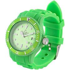 St. Leonhard Sportliche Silikon-Quarz-Armbanduhr, Lupen-Mineralglas, peppig-grün