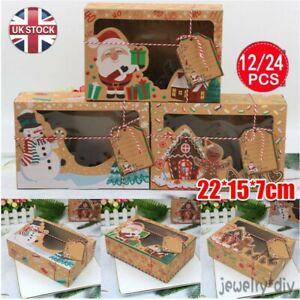 12PCS Christmas Candy Cake Cookie Cake Boxes Bakery Cupcake DIY Tag Xmas Gift JY