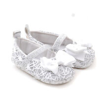 New Baby Girl Silver & White Big Bow Mayjane crib shoes 0 - 6 Months