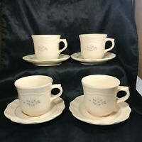 Set of 4 Pfaltzgraff Remembrance Pattern Floral Cups and Saucers