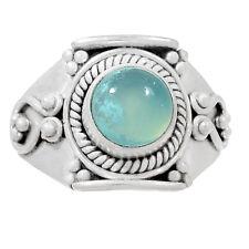 Aqua Chalcedony 925 Silver Ring Jewelry s.9.5 AQCR428