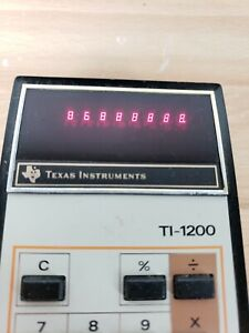 Vintage 70s Texas Instruments TI-1200 Electronic Calculator Case Red LEDs