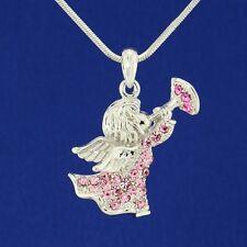 "W Swarovski Crystal Angel Cupid Trumpet Pink Pendant 18"" Chain Heaven Gift"