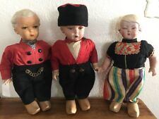 """14"""" Vintage Dutch Walking Dolls with Wood Clogs / Arms, Legs, Head Move On 2"""
