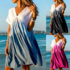 Summer Women V Neck Grandient Short Sleeve Mini Dress Casual T Shirt Sundress