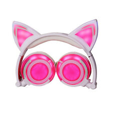 Foldable Cat Kitty Ear Gaming LED Music Lights Rechargeable Headphones Earphone