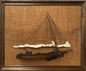 """Handmade Framed Wooden """"Skipjack"""" Half Model by Fred L. Miller, Annapolis ~ 1972"""