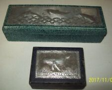 Two Boxes, Thailand, Engraved Metal Plates on Lids; Dolphin, Manatee 1132)