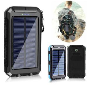 500000mAh Solar Powerbank Externer Batterie Ladegerät Zusatz 2USB LED Handy Akku