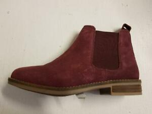 Womens Cipriata L732BDS Pull-on Suede Flat Winter Chelsea Ankle Boots Burgundy