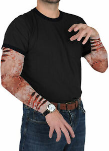 ADULT ZOMBIE BITE PARTY SLEEVES SCRATCHES VEIN POPPING GORY COSTUME BG00547