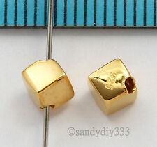 2x VERMEIL Real 18K GOLD plated STERLING SILVER DIAGONAL CUBE DICE BEAD 4mm G052