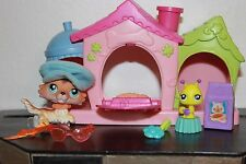 Littlest Pet Shop SAGE 58 COLLIE DOG TAN BROWN BLUE EYE CARRIER BOW HOUSE HAT