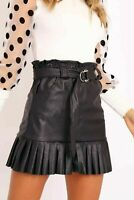 Womens Ladies Faux Leather Leatherette Wet Look Pleated Belted Mini Skirt Bottom