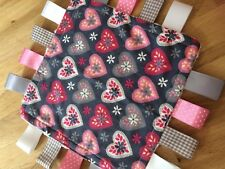 PRETTY LOVEHEART BABY/TODDLER TAGGY BLANKET/COMFORTER/GIFT ****MANY OPTIONS*****