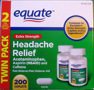 Equate Extra-Strength Headache Relief 200 Caplets Acetaminophen Aspirin Caffeine