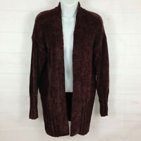 NWT A New Day solid Dark Burgundy snugly Chenille womens open cardigan sweater