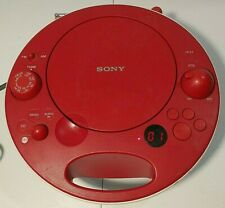 Sony ZS-E5 Red Portable CD Player AM/FM Radio MP3 AUX Stereo Boombox~Space Age