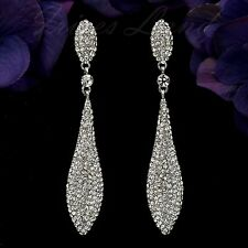 Rhodium Plated Clear Crystal Rhinestone Wedding Drop Dangle Earrings 08298 New
