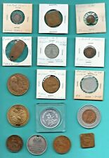 LOT OF (14) TOKENS - EARLY 1900's & (1) CIVIL WAR UNIFORM BUTTON - OLD COINS