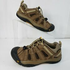 Keen Size 2 Sneaker Kids Brown Leather Mesh Trail Hike 9627 Youth EU 34