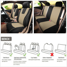 Beige Car Seat Cover Polyester Fabric Protect Covers For Interior Accessories