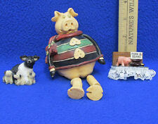 Pig Figurines Sitting Dangle Legs Piglet Family Pork And Beans Magnet Lot of 3