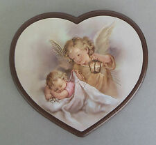 Schutzengelbild mit Baby und Laterne Herzform Rand braun Taufe Geburt AD- 51