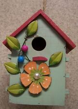 Bird House Green Floral NEW wood with sparkles on roof