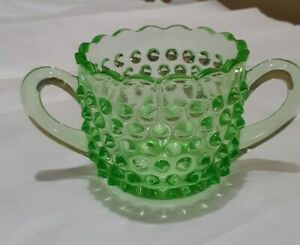Vintage Green Glass Hobnail  Sugar Bowl